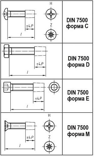 Винт DIN 7500